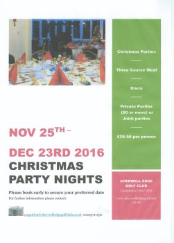 cherwell-Christmas Party Nights 2016 poster