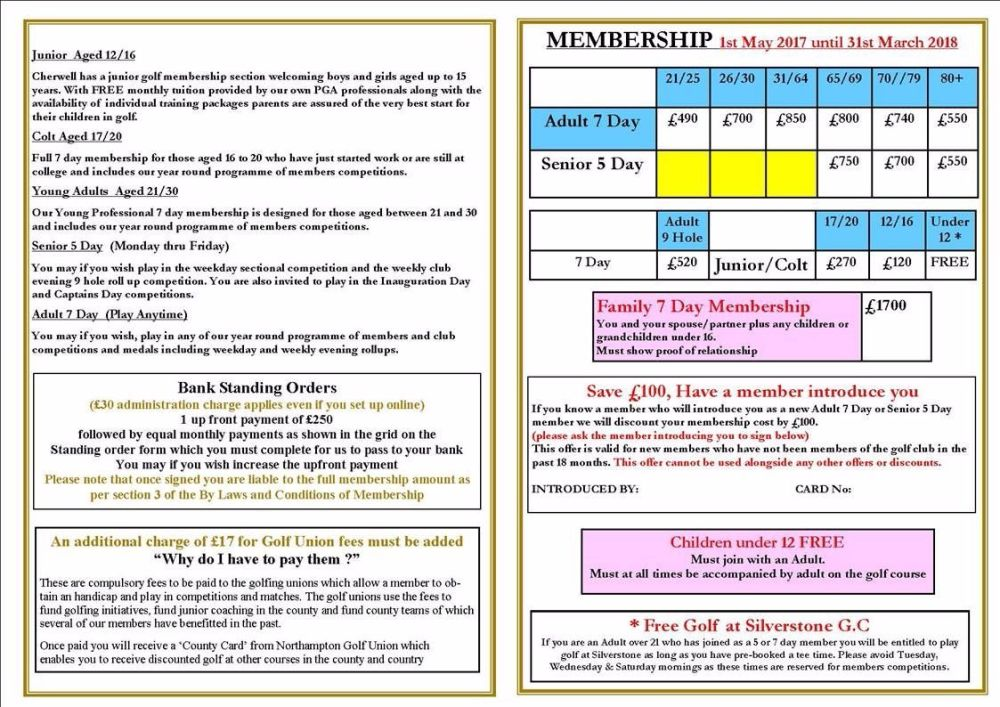 may 2017 membership prices
