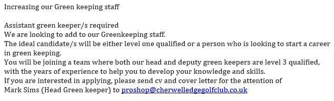 green keeper job web