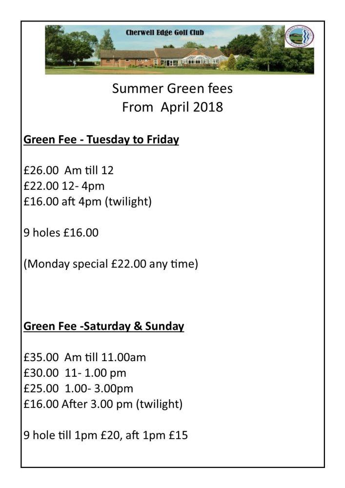 summer green fees 2018