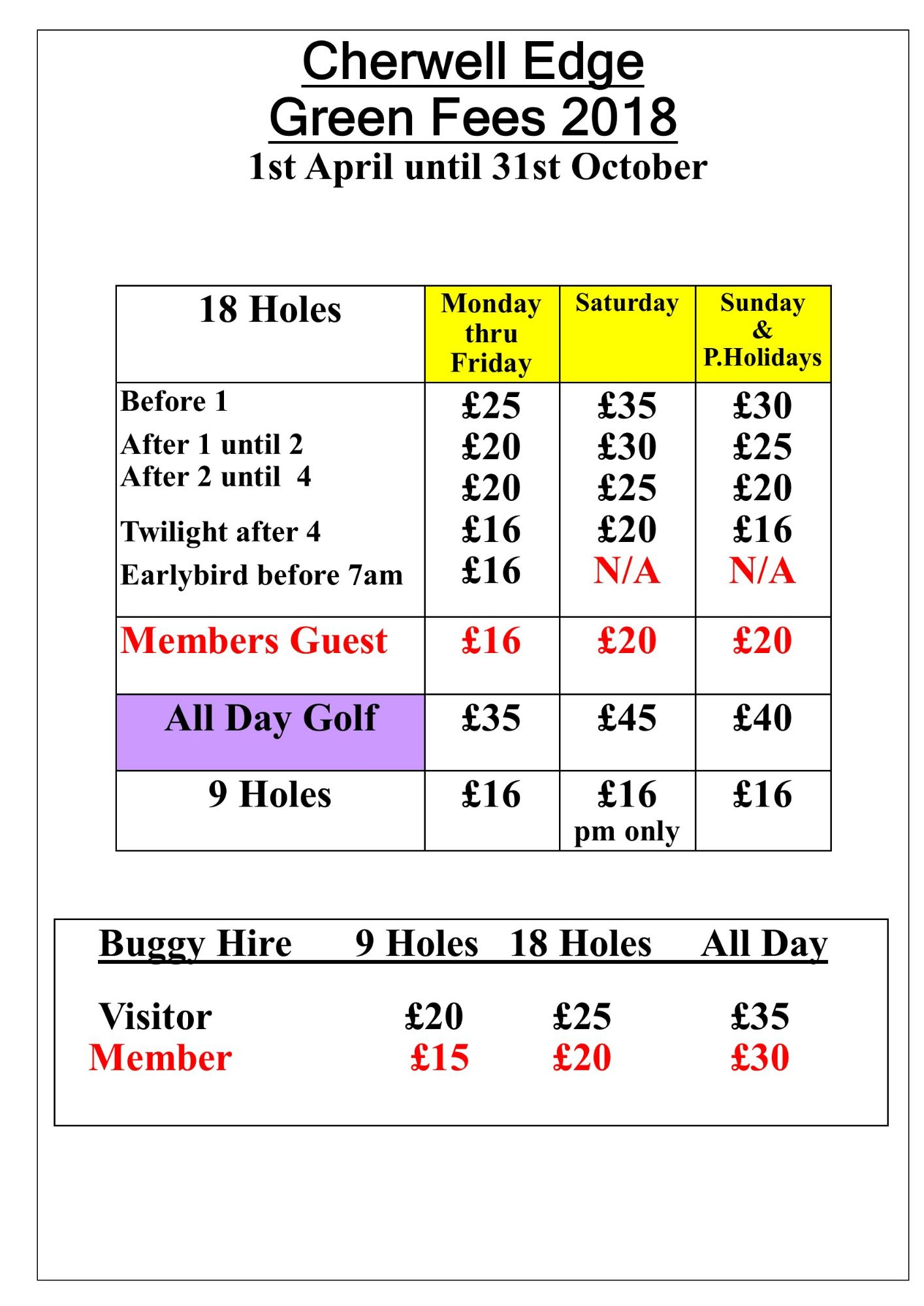 Cherwell Green Fees Summer 2018