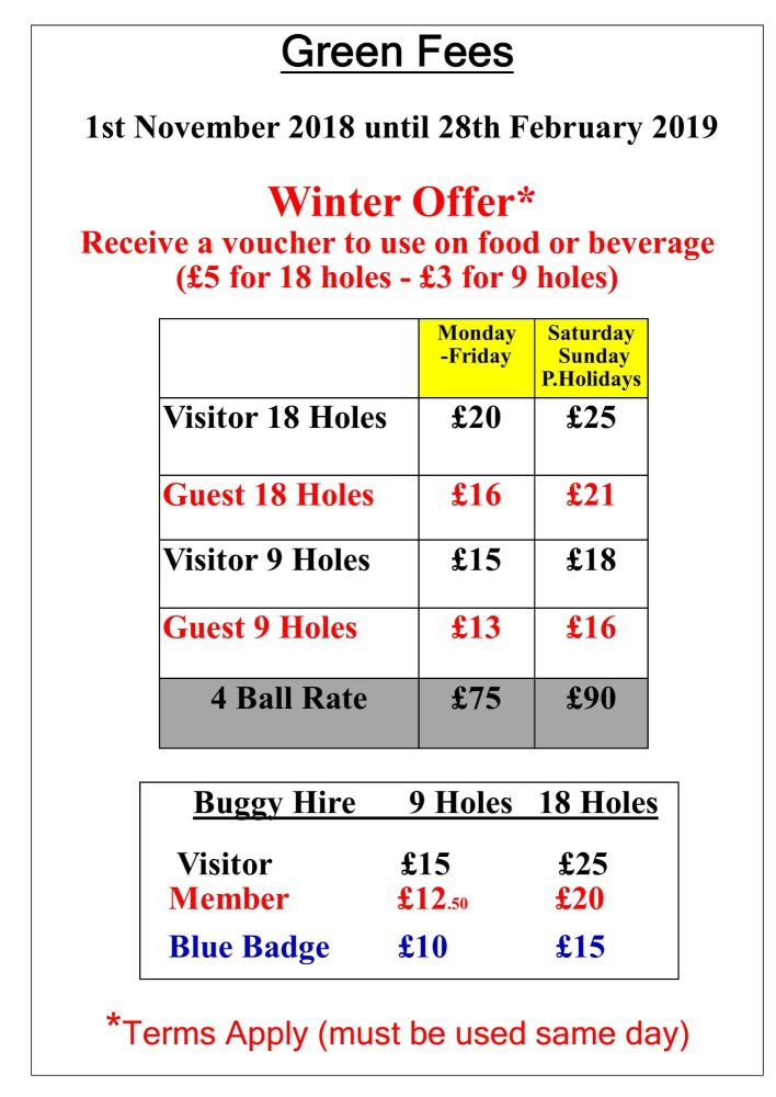Green Fees Winter 2018