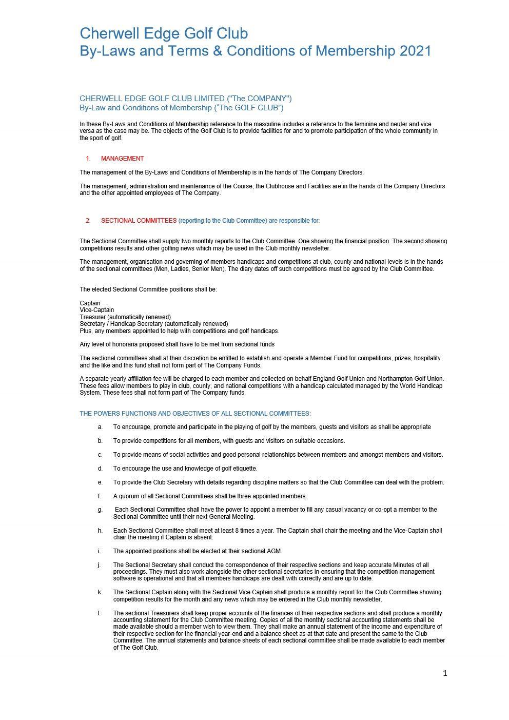 CHERWELL EDGE GOLF CLUB By Laws 2021 version FINAL_1