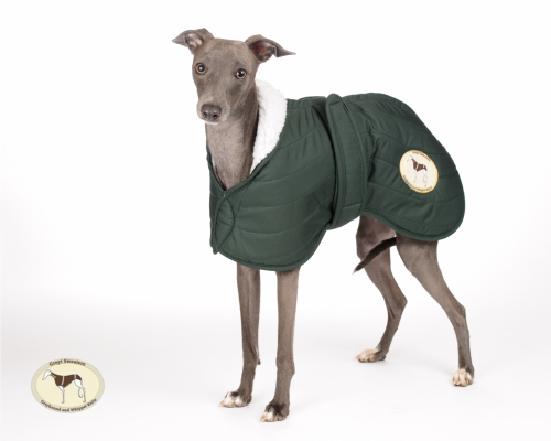 Olive Green Waterproof Quilted Jacket for Whippets