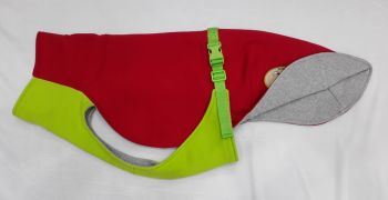 Sweat/Tee Shirt for Whippets, Red & Lime Green