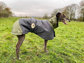 Waterproof Padded Luxury Jacket; Dark Grey/Olive Green for Whippets