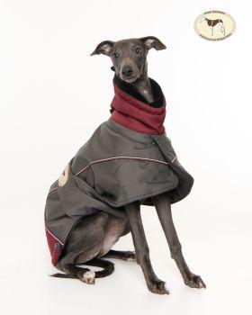 Waterproof Padded Luxury Jacket; Grey/Burgundy for Greyhounds