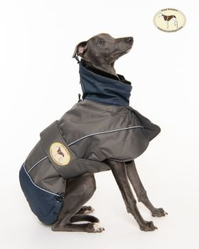 Waterproof Padded Luxury Jacket; Grey/Navy for Greyhounds
