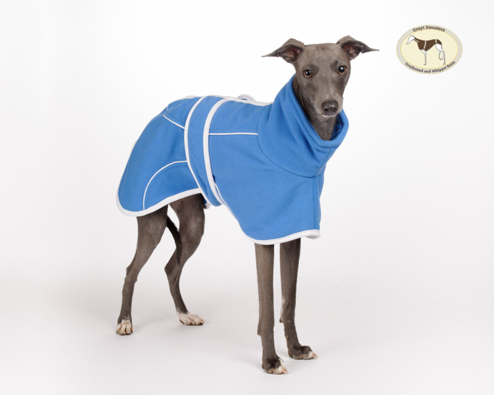 Royal Blue Fleece Housecoat Italian Greyhounds