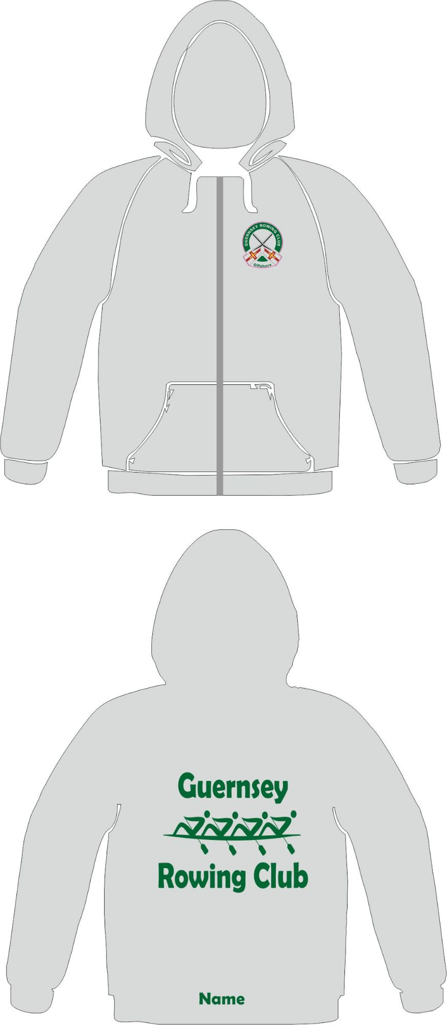Guernsey Rowing Club (Full Zip) Zoodie Grey