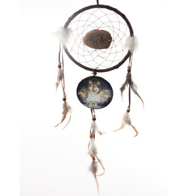Dreamcatcher Print with Stone, Triple Wolf Spirit