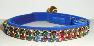 Blue Velvet Cat Collar With Multi Swarovski Crystals