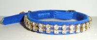 Blue Velvet Cat Collar With Swarovski Crystals