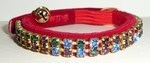 Red Velvet Cat Collar With Multi Swarovski Crystals