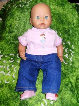 Dolls jeans and top to fit Annabell and most 18 inch high baby dolls