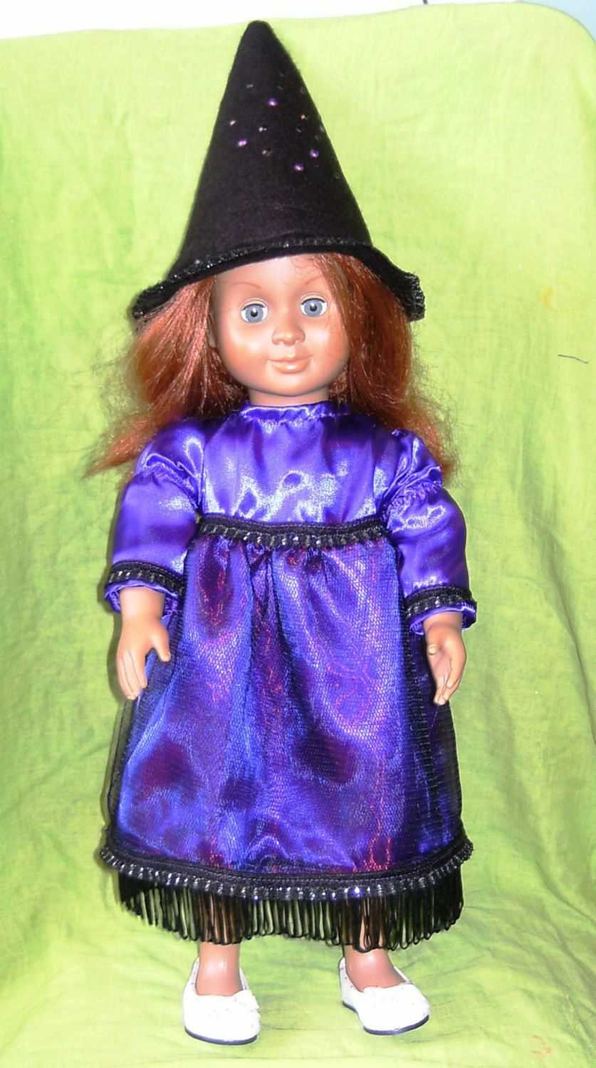 dolls purple witch outfit to fit American Girl doll and most 18 inch high g