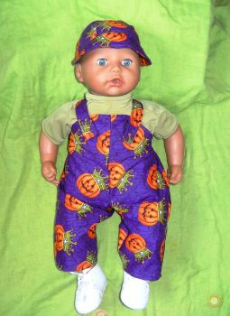 doll's Halloween dungarees outfit to fit George dolls and most 18 inch baby boy dolls