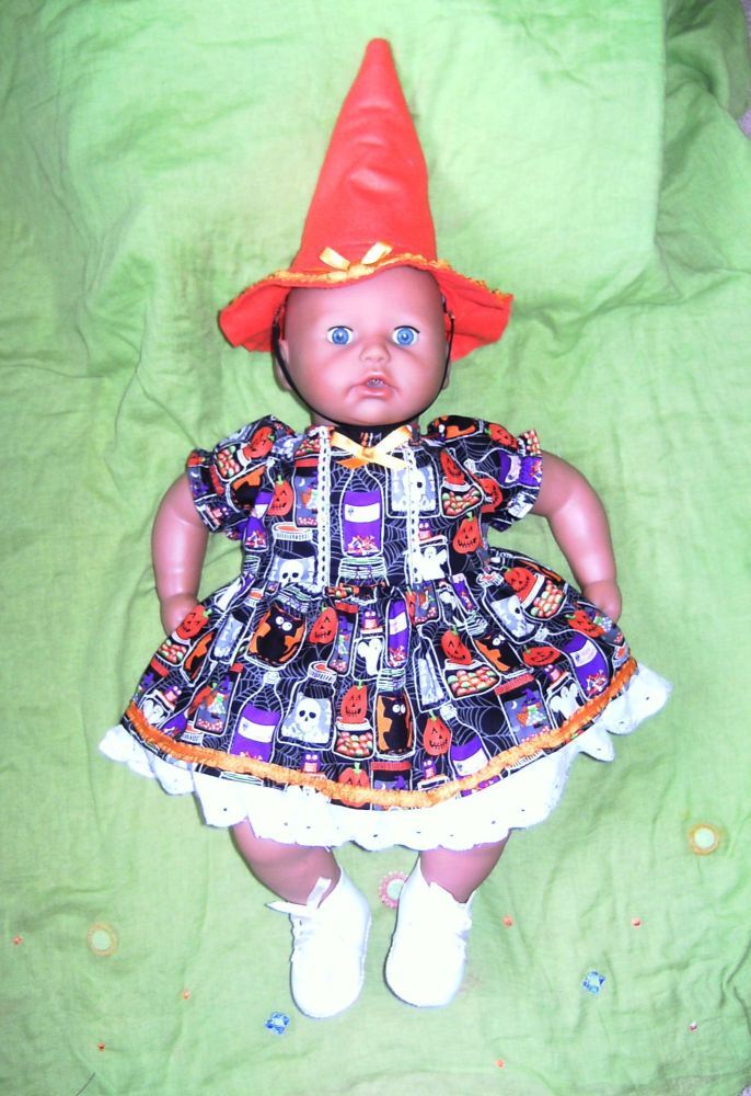 Dolls halloween dress and witches hat to fit Annabell doll and most 18 inch
