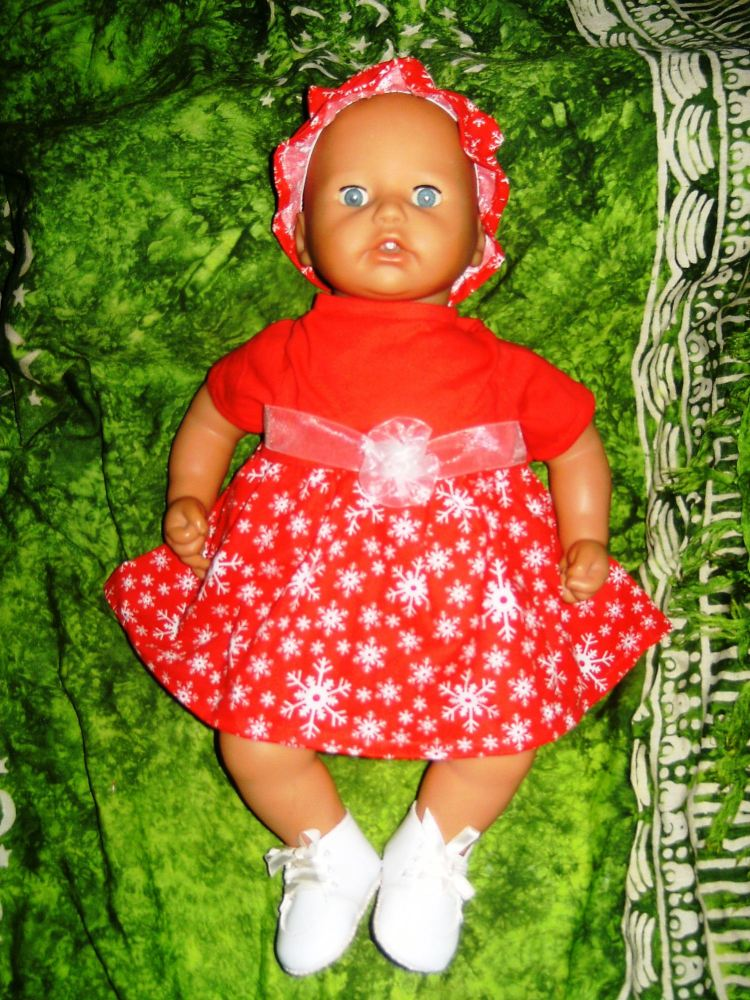 Dolls Dress in Christmas print to fit Annabell