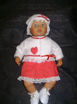 Dolls red and white pramsuit to fit Annabell
