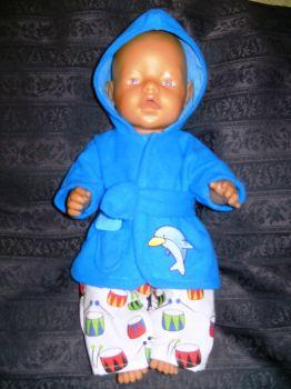 Dolls bathrobe to fit Baby Born Boy doll and most 16 inch baby dolls