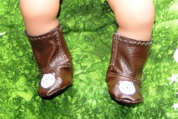 Doll's brown boots with cat faces