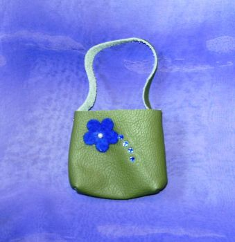 Doll's green leather shopper bag