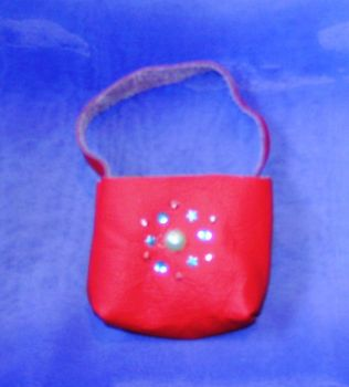 Doll's red leather shopper bag