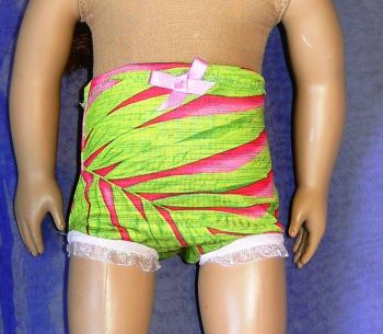 Doll's panties in green and pink print