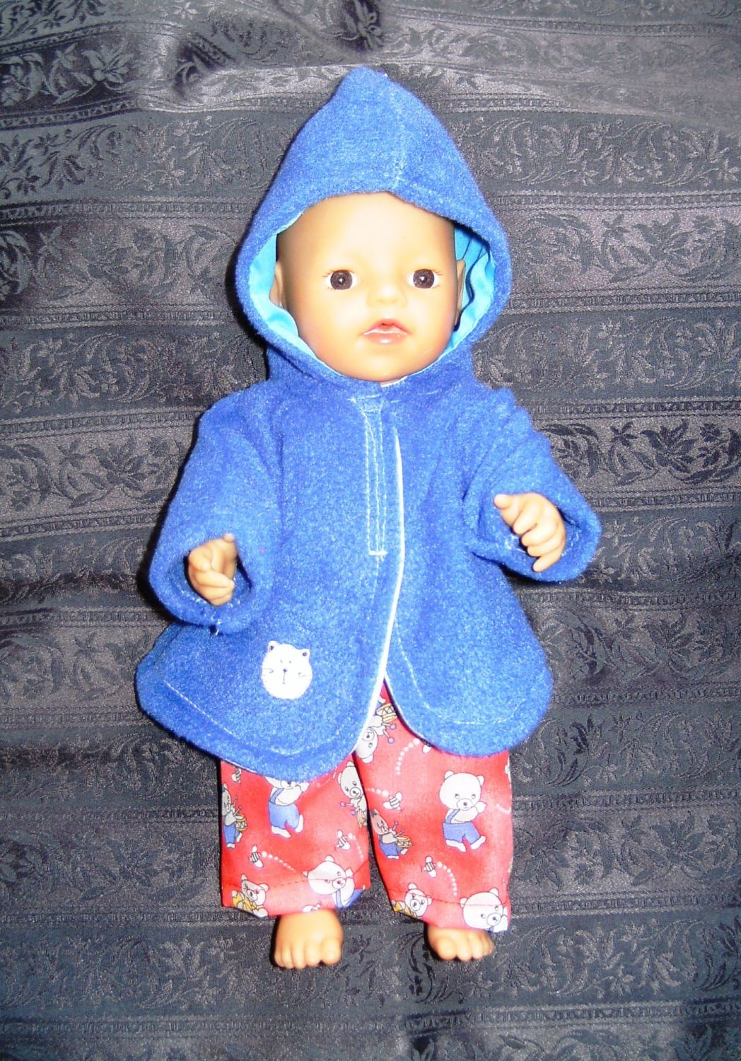 Doll's bathrobe to fit 12 inch baby boy doll