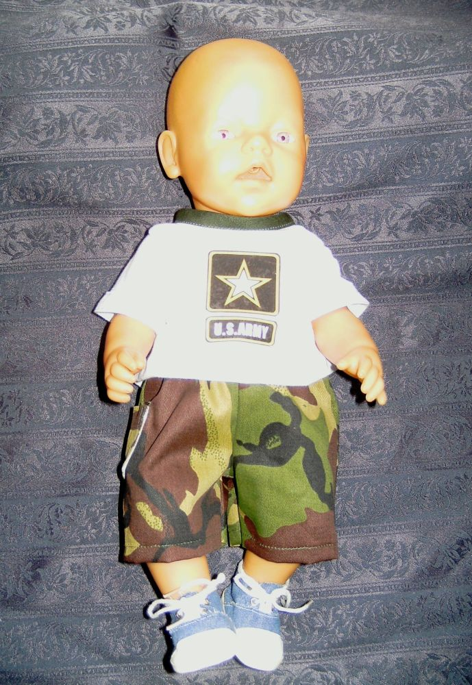 Doll's tee shirt and shorts to fit 12 inch high baby boy dolls