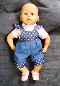 Doll's dungarees and blouse to fit Annabell doll