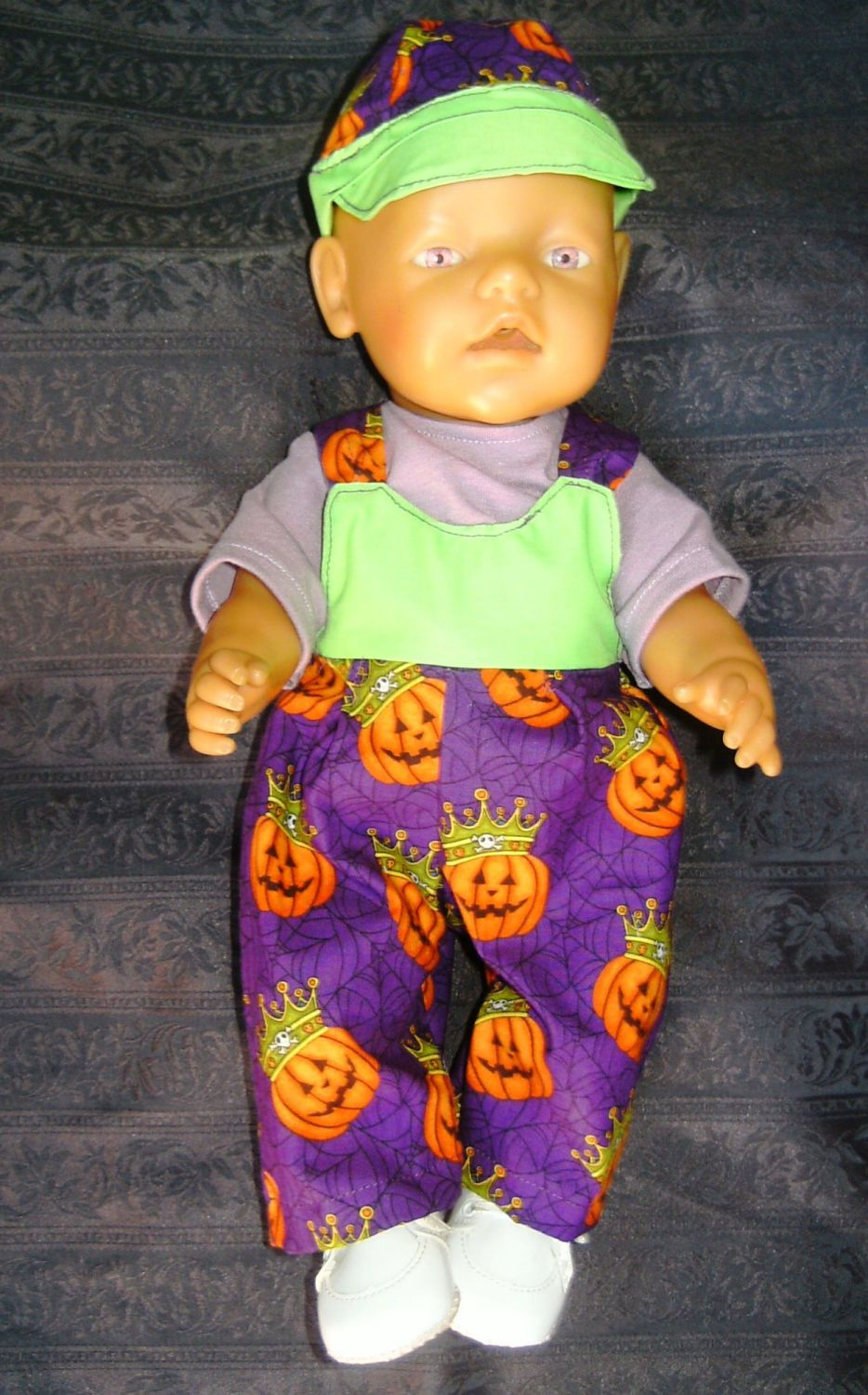 Doll's Halloween dungarees to fit Baby Born Boy doll