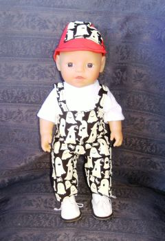 Doll's halloween dungarees to fit 12 inch baby boy doll