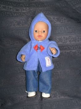 Doll's blue fleece duffle coat and blue jeans