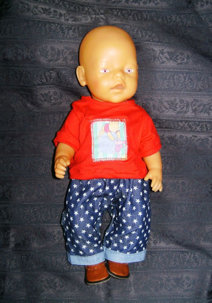 Doll's tee shirt and jeans to fit Baby Born Boy doll