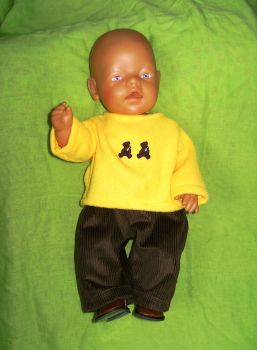 Doll's yellow fleece and brown cords