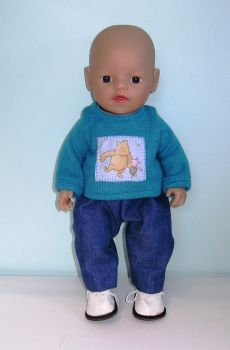 Doll's sweater and jeans set