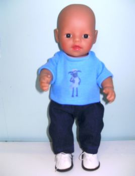 Doll's Tee shirt and jeans to fit 12 inch baby doll