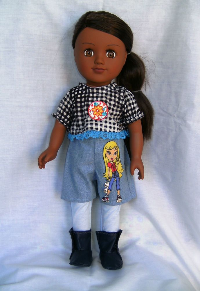 Dolls shorts, tights,top and boots set to fit American Girl doll
