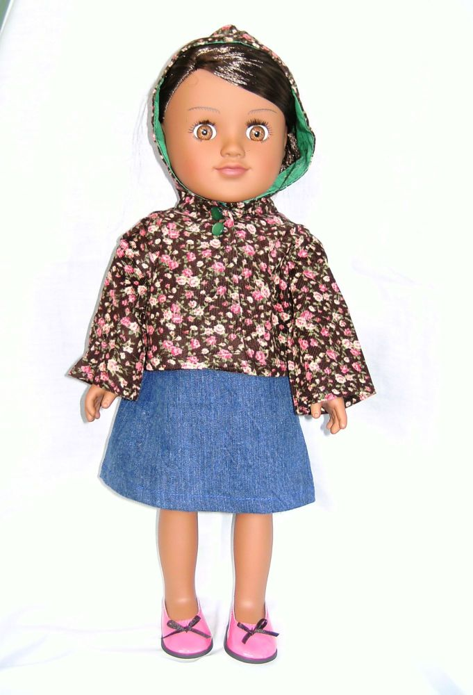 Dolls hooded jacket to fit American Girl doll and most 18 inch girl dolls