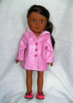 Doll's raincoat made to fit the 18 inch high Sindy doll and most 18 inch girl dolls