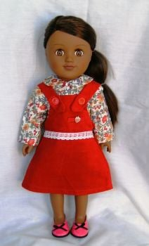 Pinafore dress and blouse made for the 18 inch high Sindy and most 18 inch girl dolls