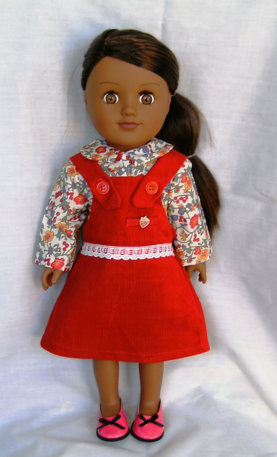 Pinafore dress and blouse made for the 18 inch high Sindy and most 18 inch
