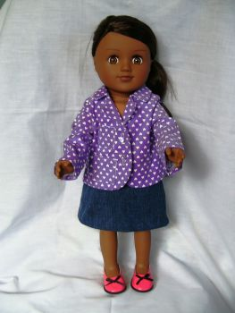 Doll's blazer made for the 18 inch high Sindy and most 18 inch high girl dolls