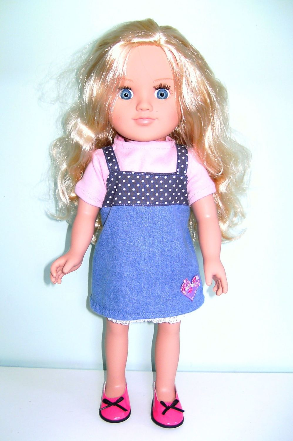 Doll's pinafore dress and tee shirt for 18 inch Sindy doll