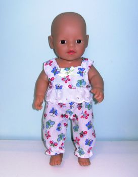 Doll's pajamas to fit 12 inch high baby dolls