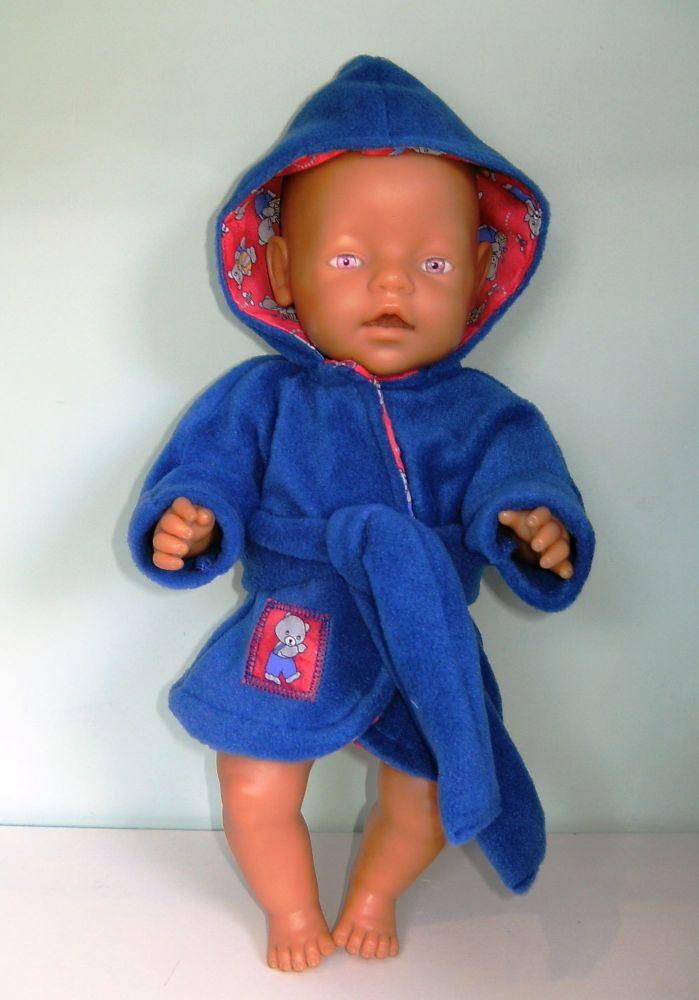 Doll's blue fleece bathrobe