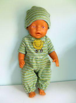 Doll's sleepsuit and hat to fit Baby Born boy doll