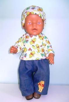 Doll's jeans set with pooh bear detail